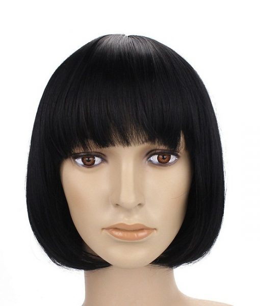 Human Hair Short Bob Wig with Bangs