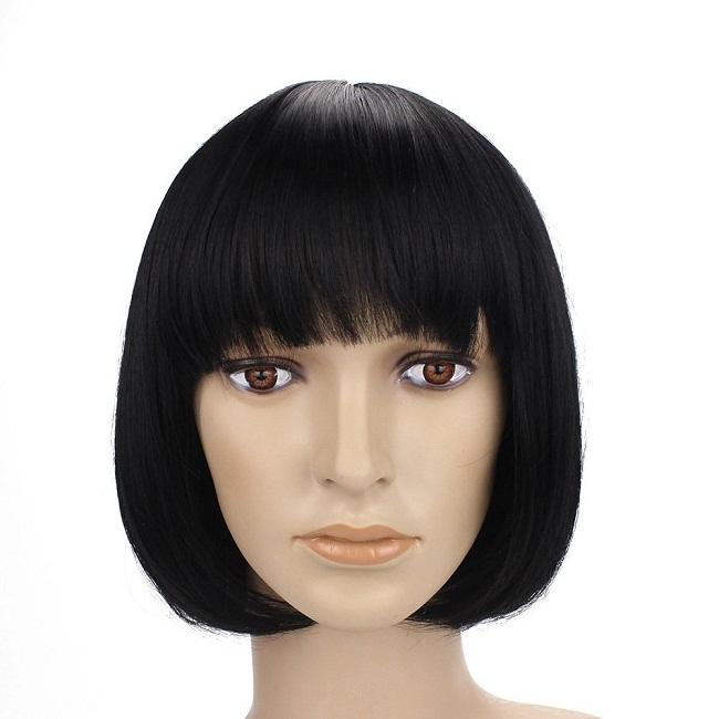 Human Hair Short Bob Wig with Bangs