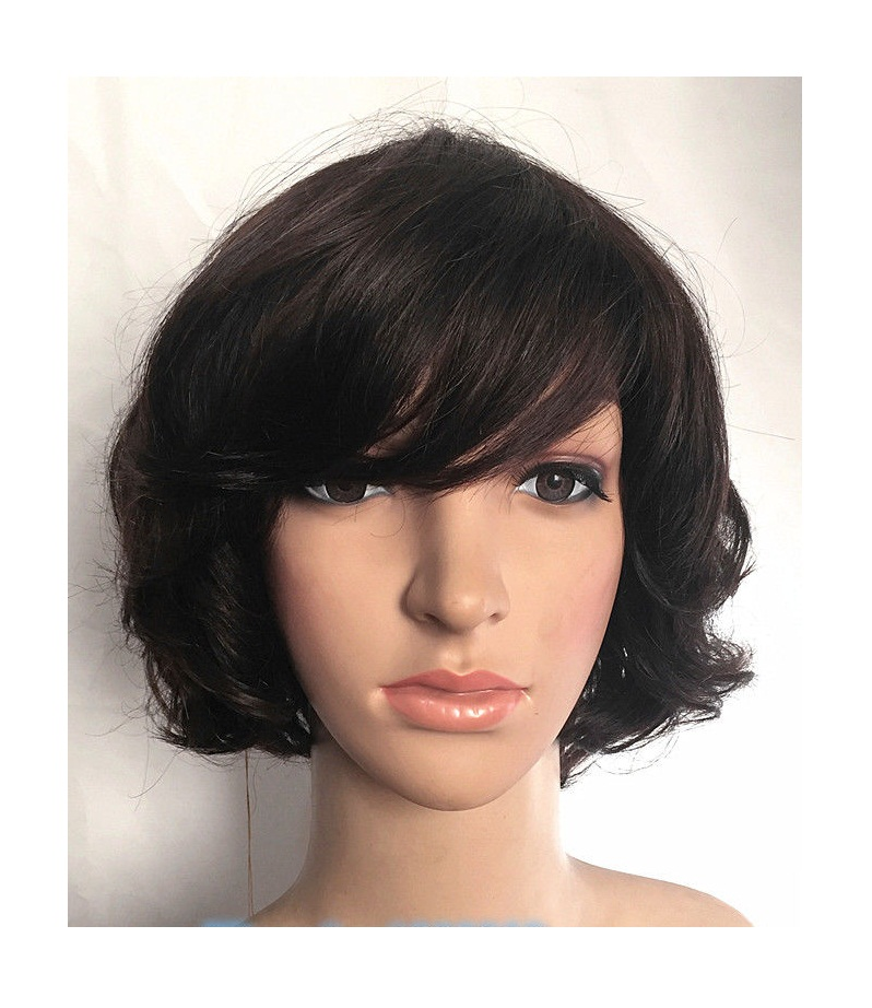 Short Wavy Human Hair Wigs with Bangs
