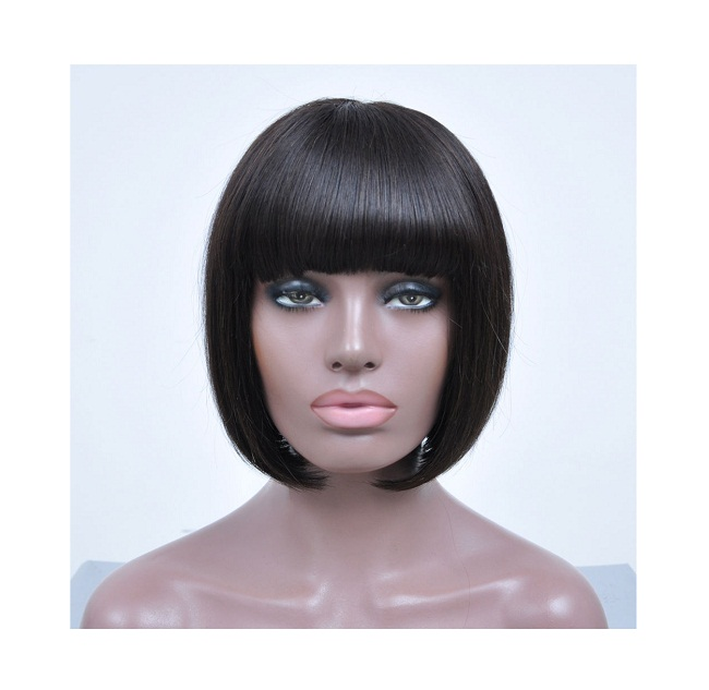 Human Hair Short Wigs with Bangs