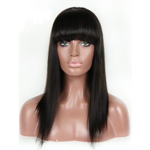 Long Straight Human Hair Wig With Bangs