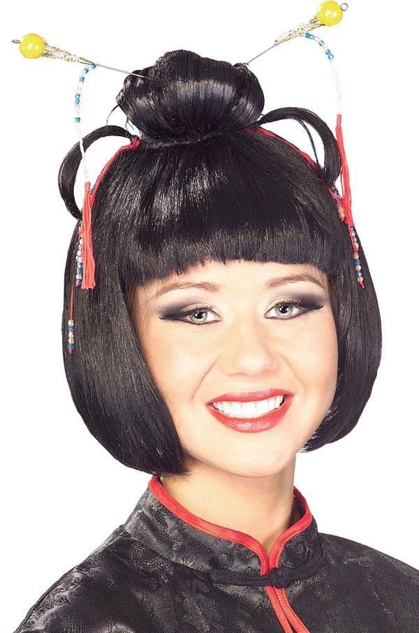 Wig black geisha full wigs plate hair anime wig cosplay half wigs curly wigs